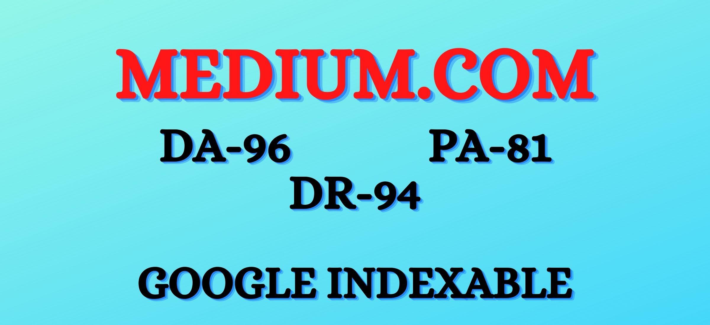 Write & publish High quality guest post backlink on Medium DA-96