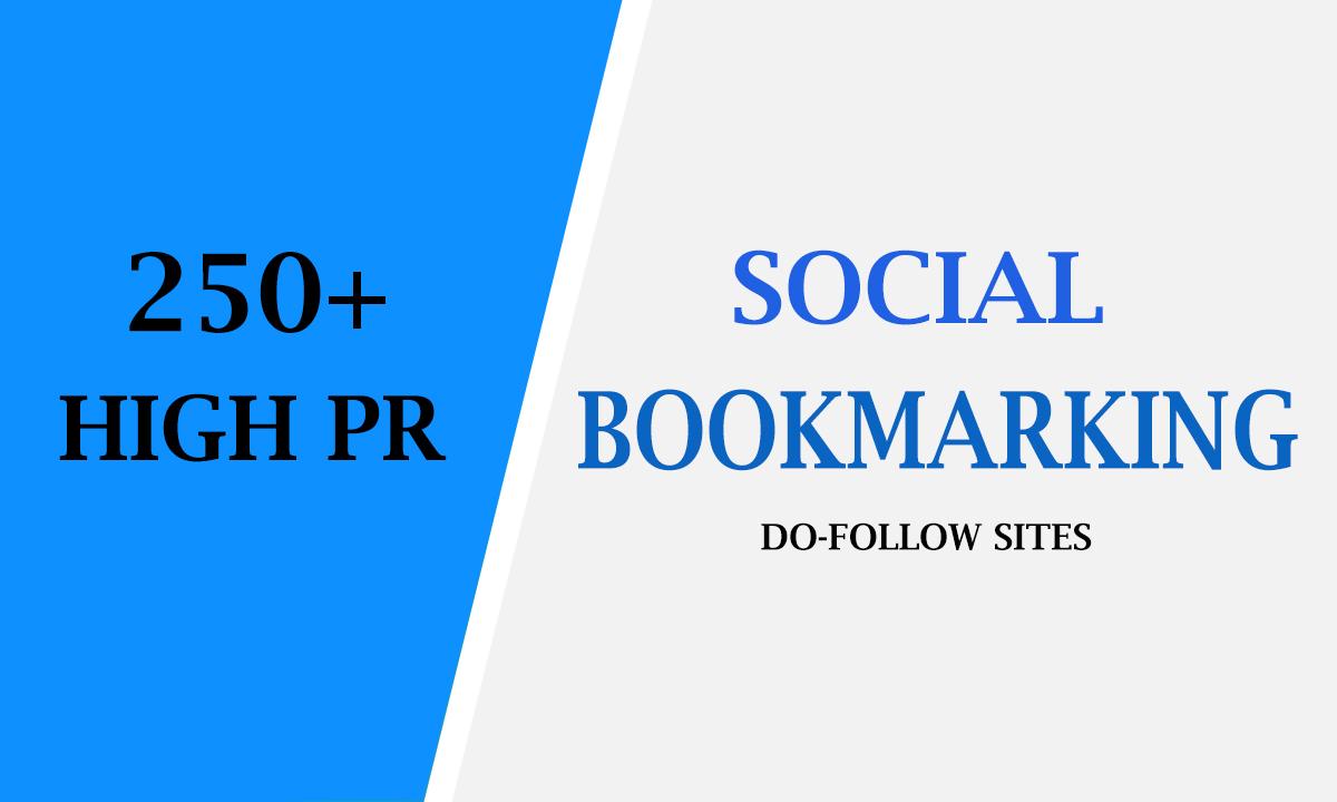 I will create 250 high PR top social bookmarking backlinks for website