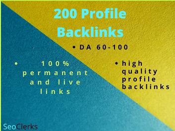 I Will Do 200 91+DA Unique do follow Profile Backlinks Manually For SEO
