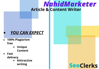 I will do 900 Word SEO Friendly article writing, blog post website content writing