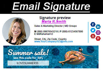 You will get an awesome clickable HTML Email Signature with Sorce Files