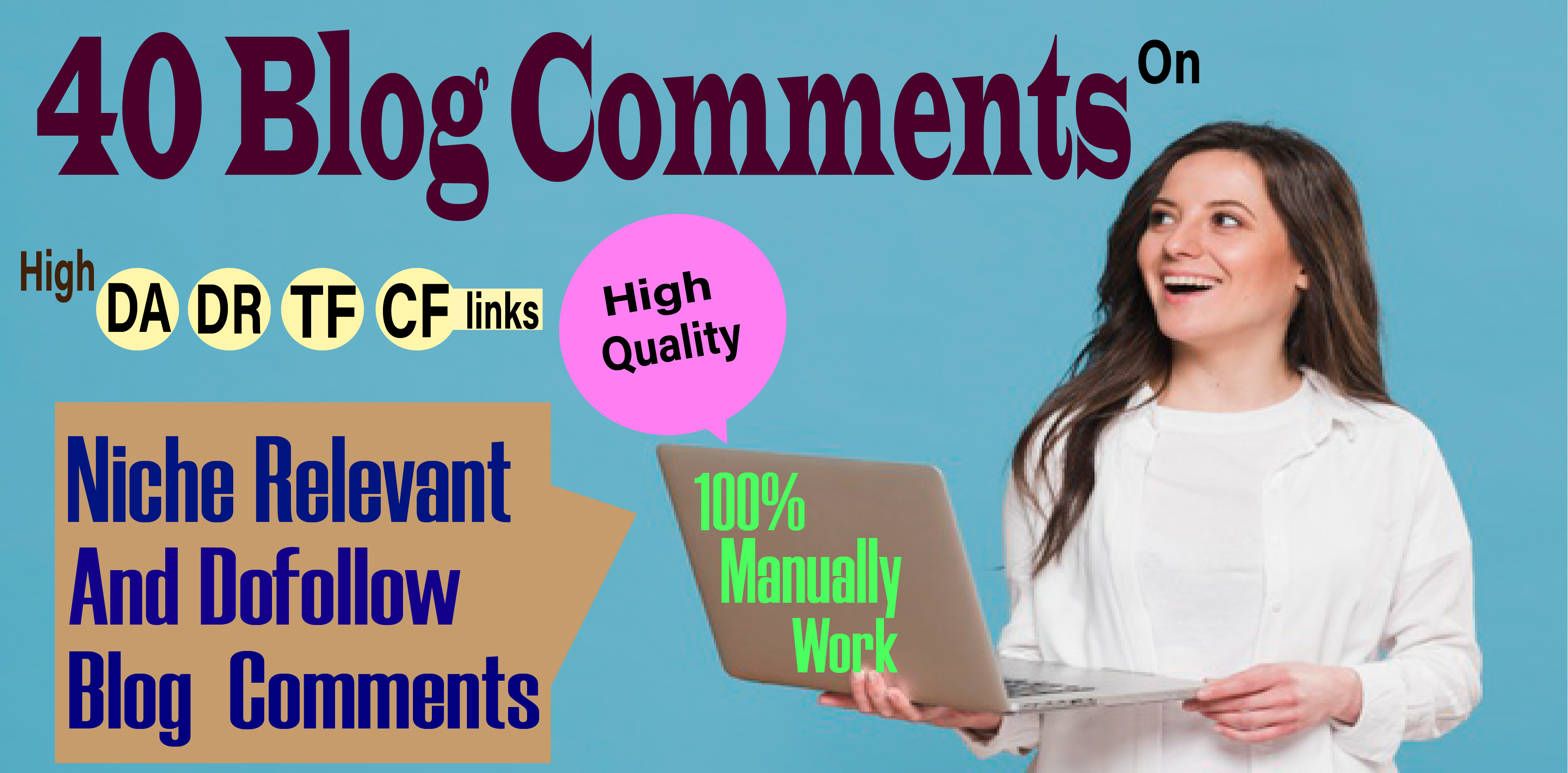 I Will Create 40 Blog comments backlinks DA-50+