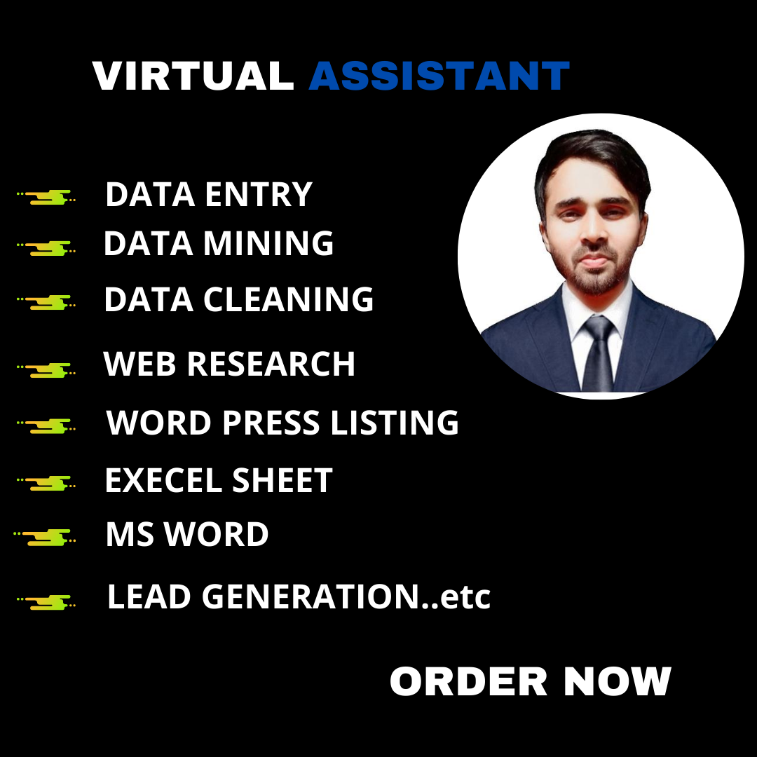 I will be virtual assistant for Data entry, Data mining, Web research