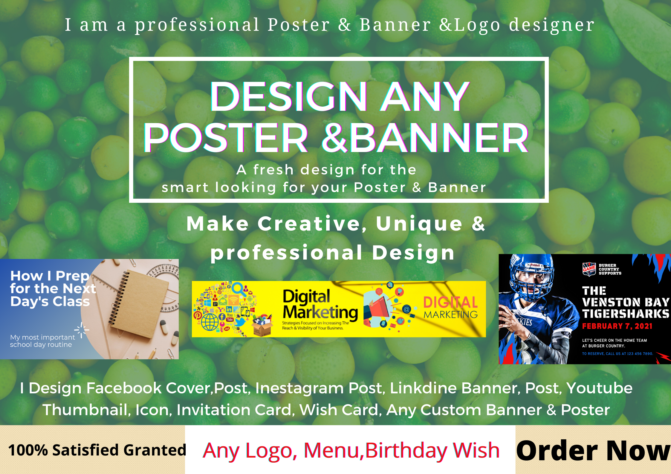 I, ll Design Unique & Professional Any Social Media Poster,  Cover,  And Banner & Any Logo
