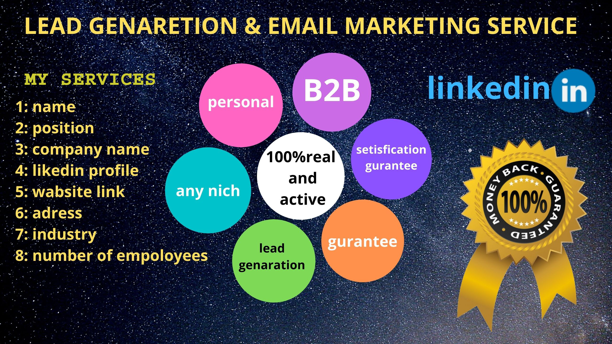 I will do for you b2b 100 lead generation and 3k email marketing campaign