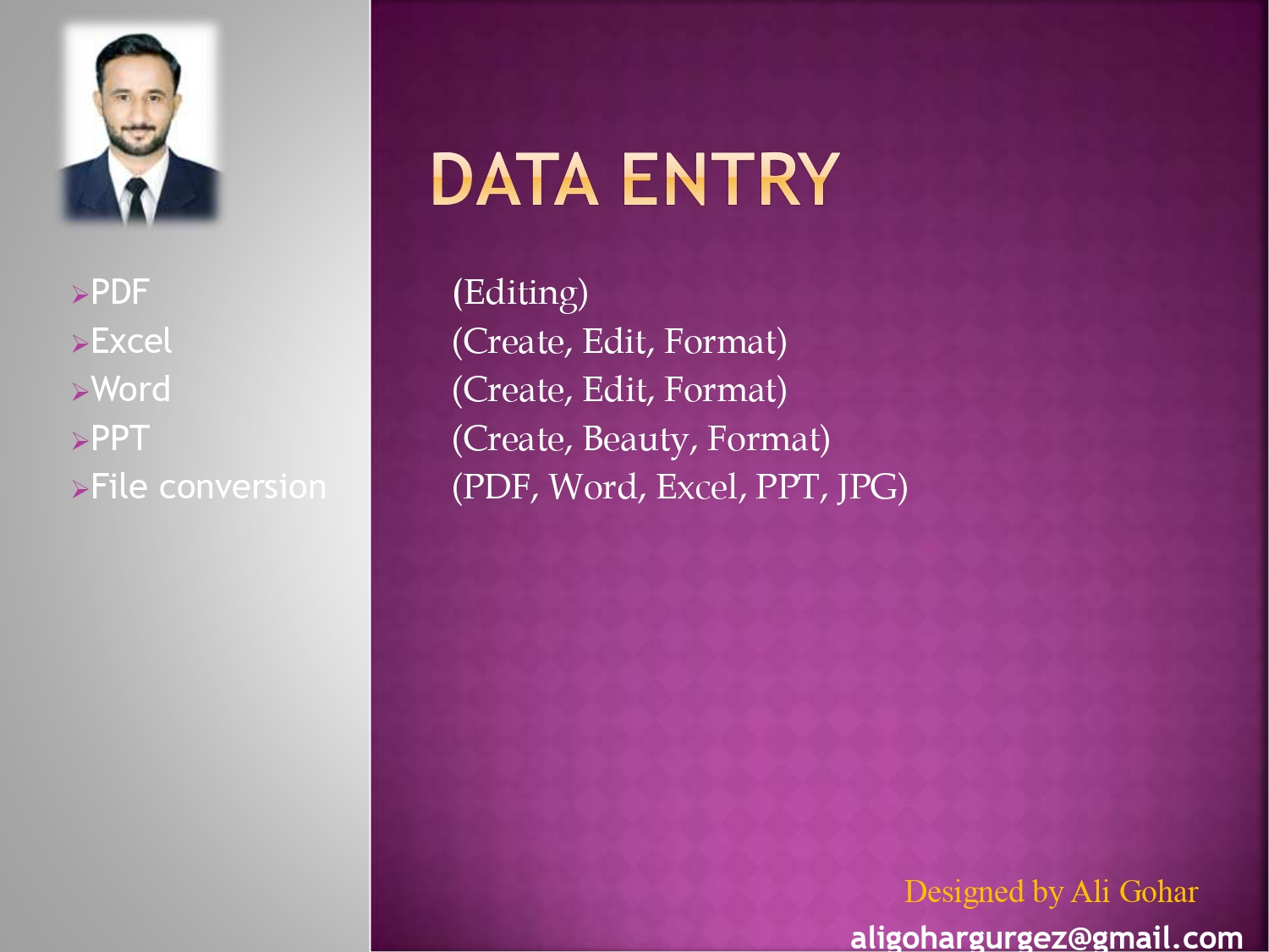 I will Data Entry,  PDF conversion,  edit and compile data