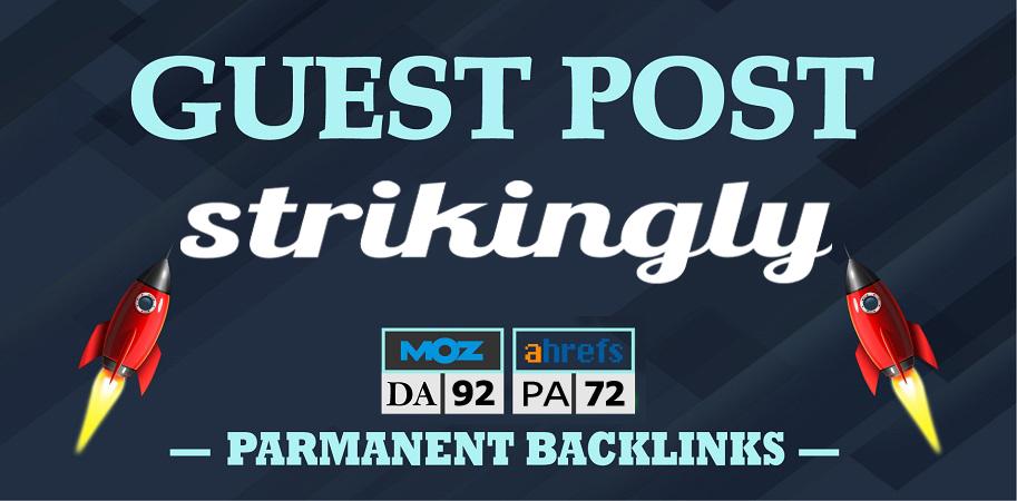 I will Write and Publish Unique Guest Post on Strikingly. com DA 92