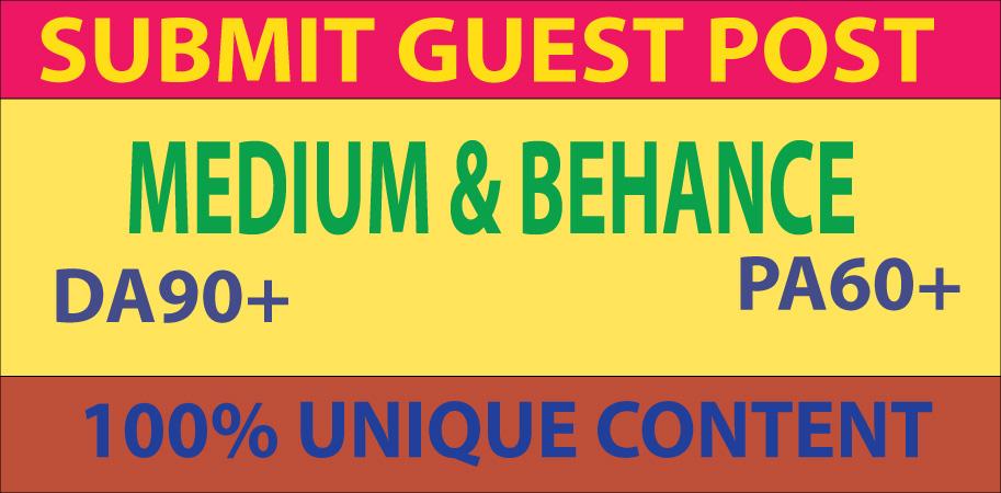 Write And Publish Guest Post On Medium & Behance. Com DA 90+ PA 60+