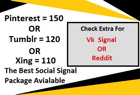 120 Tumblr or 150 pinterest or 110 xing or 50 vk or 5 reddit social signals backlink