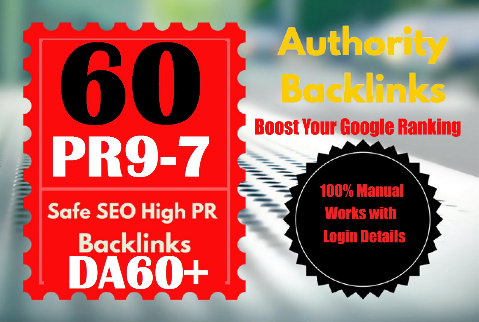 I Will Do 60 PR9-PR7 Safe High PR Backlink For rank A website on Top On Google