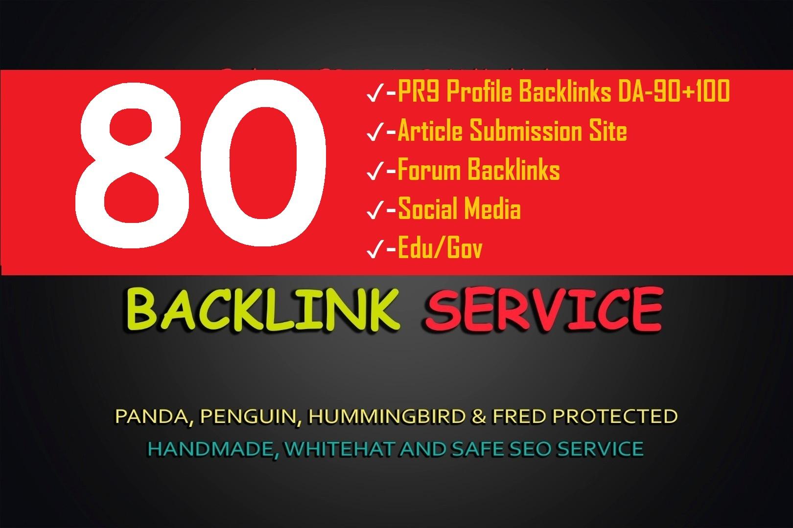 5 Step 80 SEO Backlinks Biggest PR9/EDU/Social Media/Article Submission Create For Google 1st Rankb