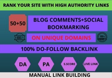 I will do Do follow Blog comments + Social Bookmarks in High Authority Website