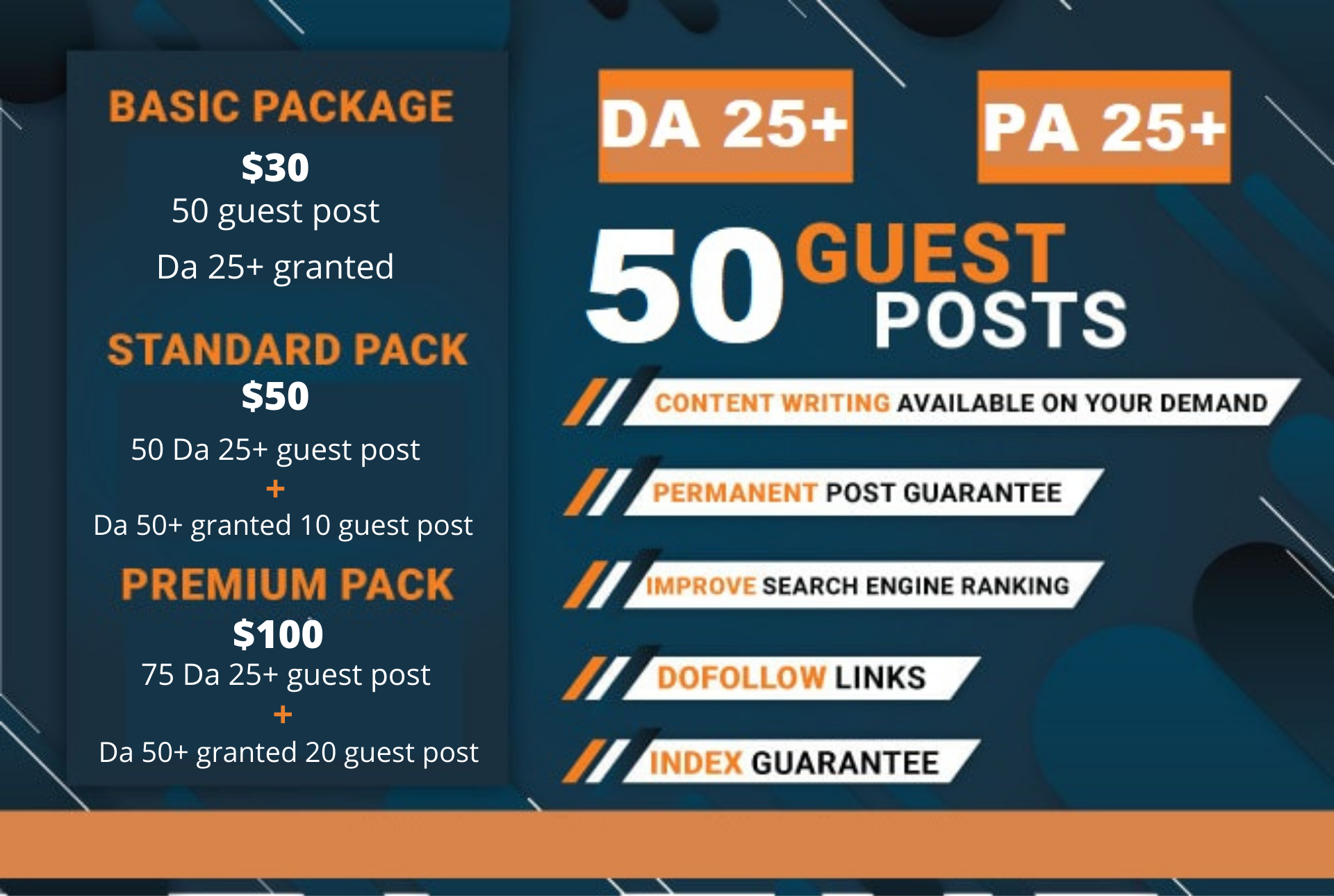 50 guest post DA 25 granted from real websites