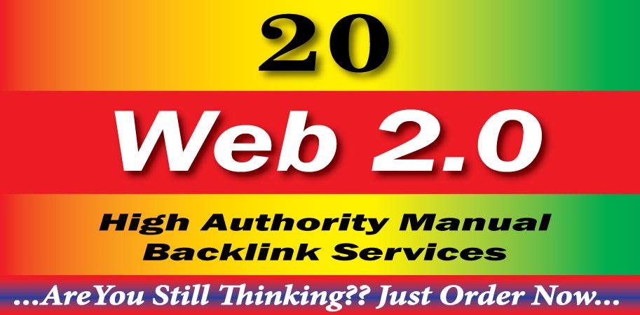 Create 20 High Quality Web 2.0 Blog super Backlinks With High(DA-PA) sites