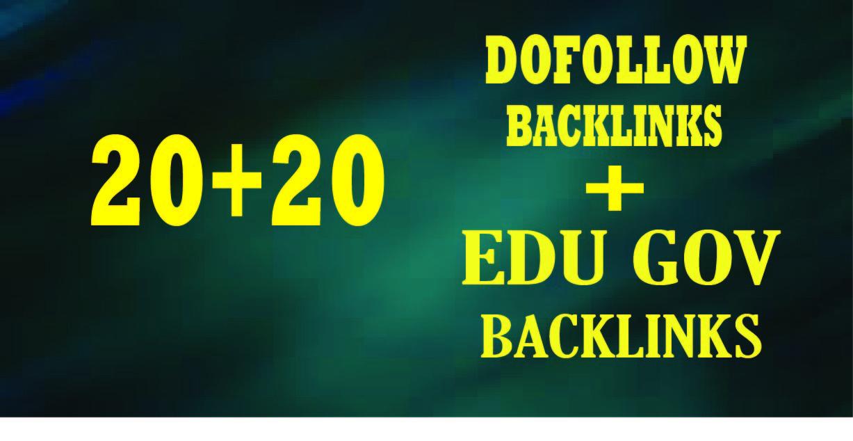 manually 20 dofollow and 20 powerful edu gov backlinks service