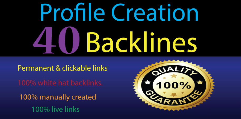 I will create 40 Profile Creation backlinks HQ website live link Social site guaranty