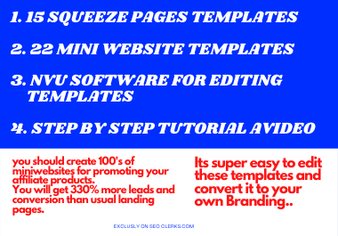 I Will Provide 15 Sqeeze Pages And 22 Mini Websites