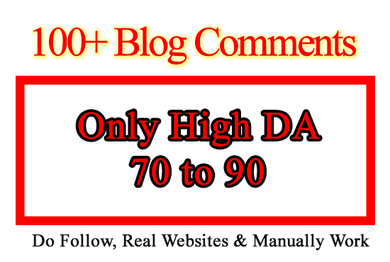 I will create 100 high da quality backlinks using blog comments