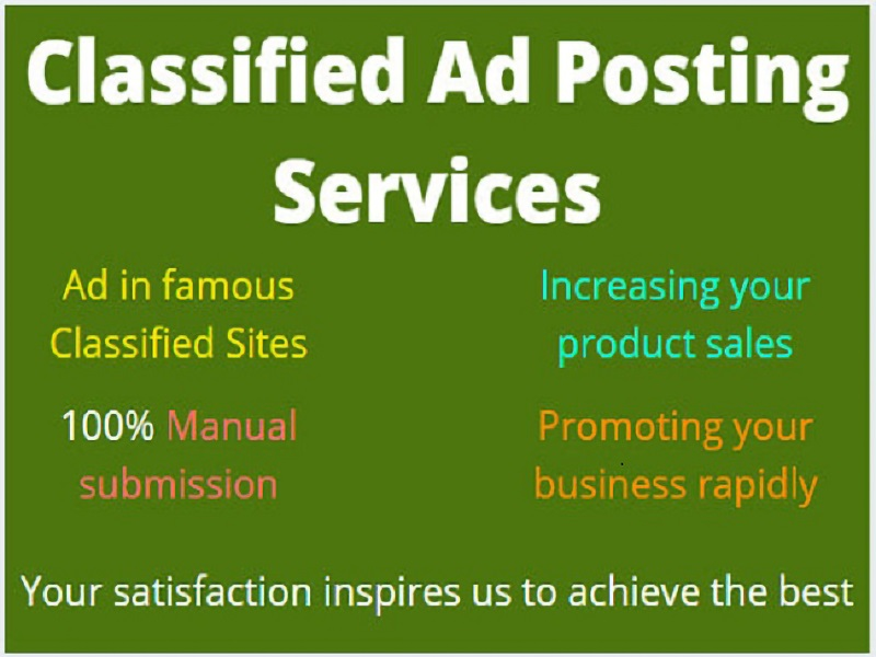 I will manually post free classified ads on 100 sites