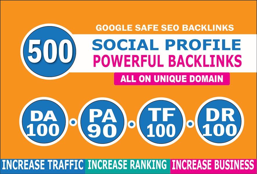 I will create 500 high da do follow social profile backlinks manually for SEO ranking