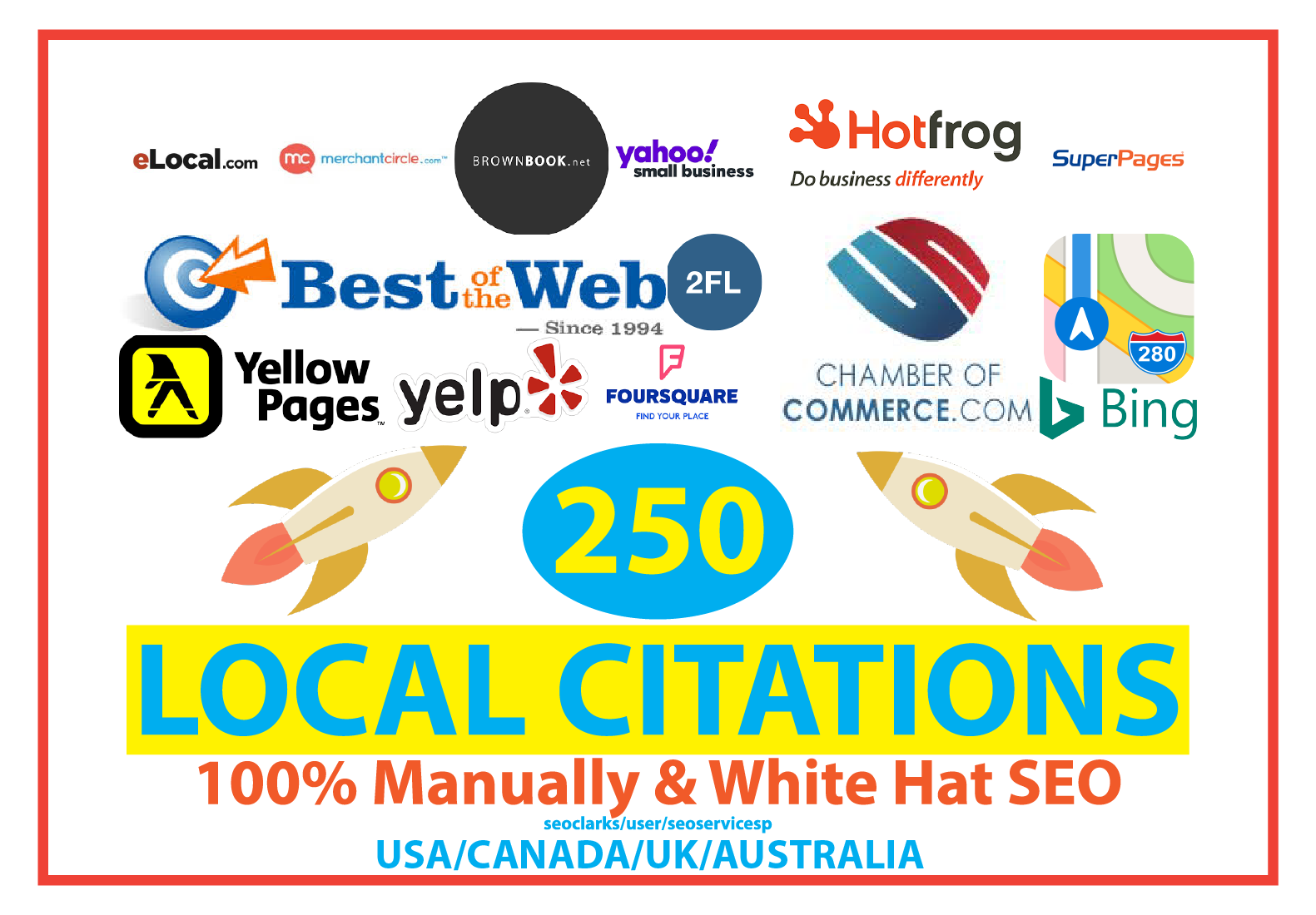 250 Local SEO Citations For USA or CANADA or UK or AUSTRALIA