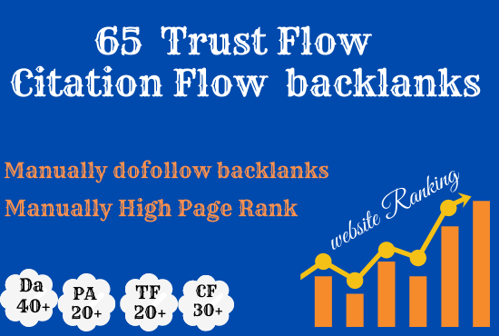 Create 65 high trust flow citaion flow backlinks on high da and pa