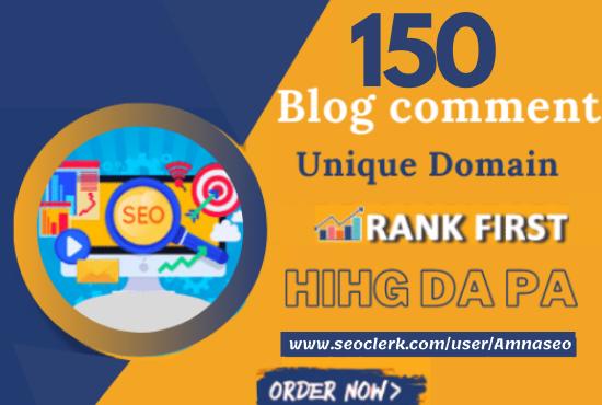 create 150 blog comments high da pa quality backlinks