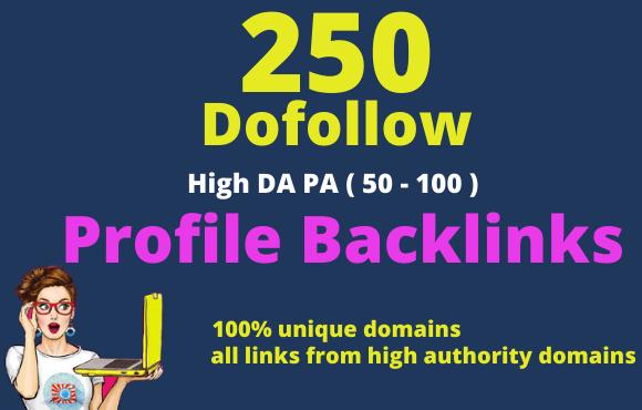 I will create pr9 250 high authority dofollow profile backlinks