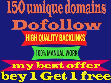 150 Unique Domain Dofollow Backlinks with DA 20plus