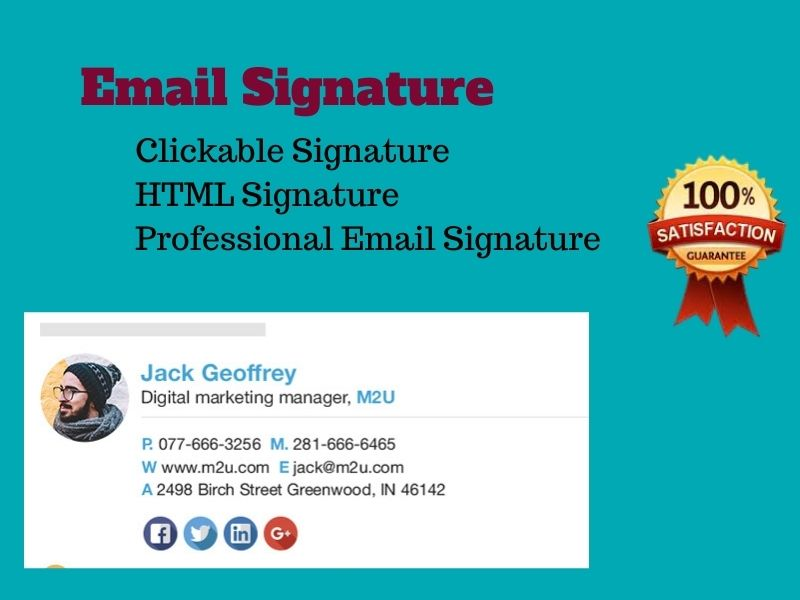 I will make a clickable HTML email signature for gmail,  outlook on your need