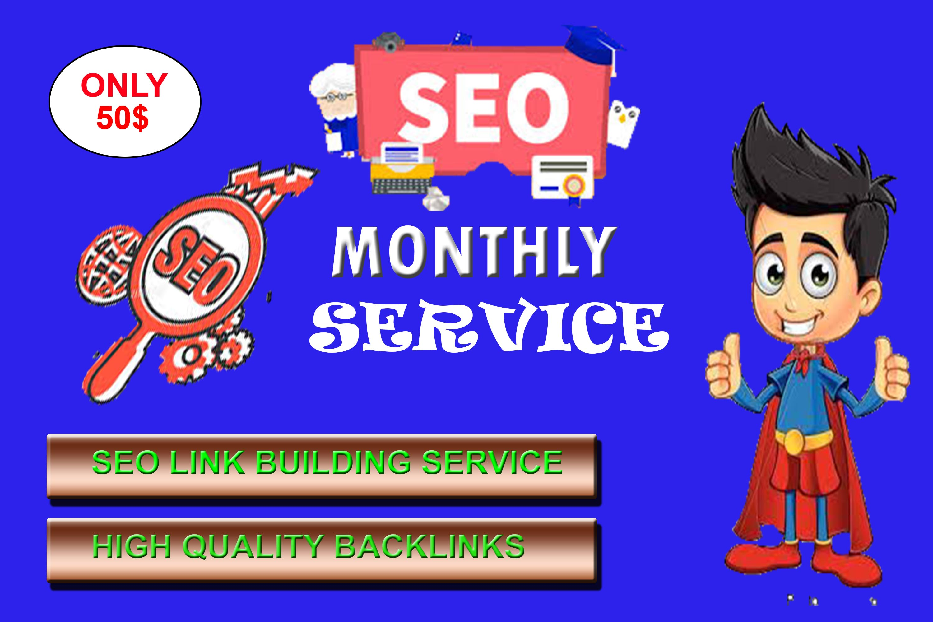 I will Provide Complete Monthly SEO Service Backlinks