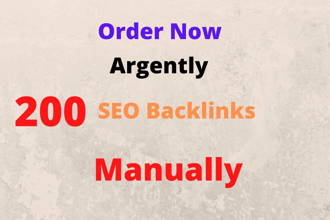 I will creat 200 do follow high quality strong seo backlinks manually & hard working.