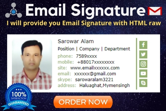 I will create a clickable HTML Signature for Gmail, Outlook etc