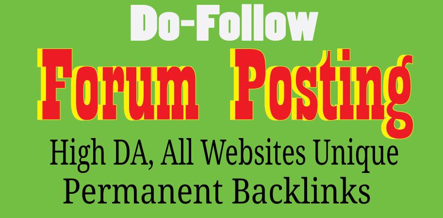 Manually create DoF0llow 40 forum postting unique Websites backlinks
