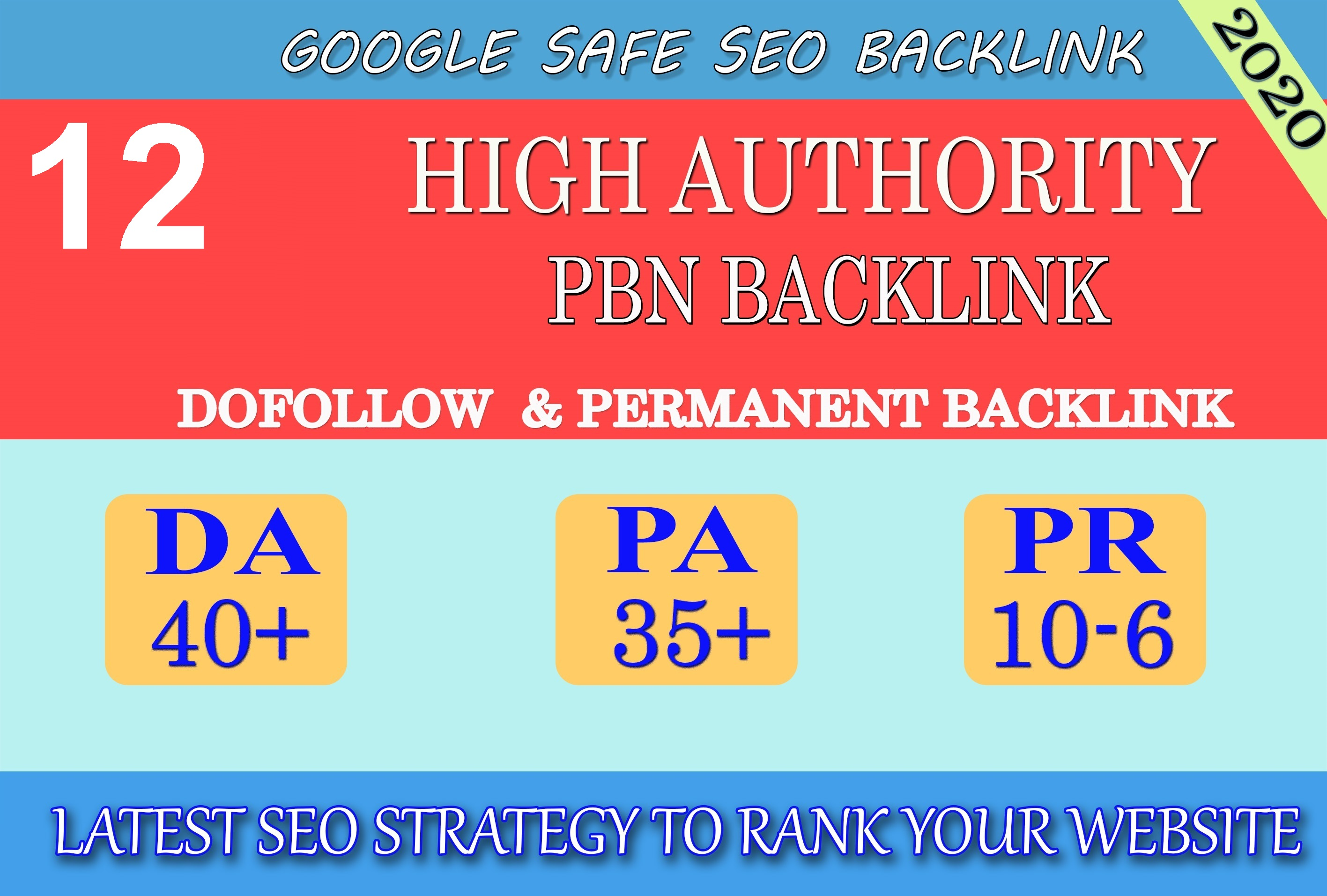 I will provide DA40+ PA30+ PR6+ 12 Web2.0 High Quality Backlink and 100 Dofollow and Permanent