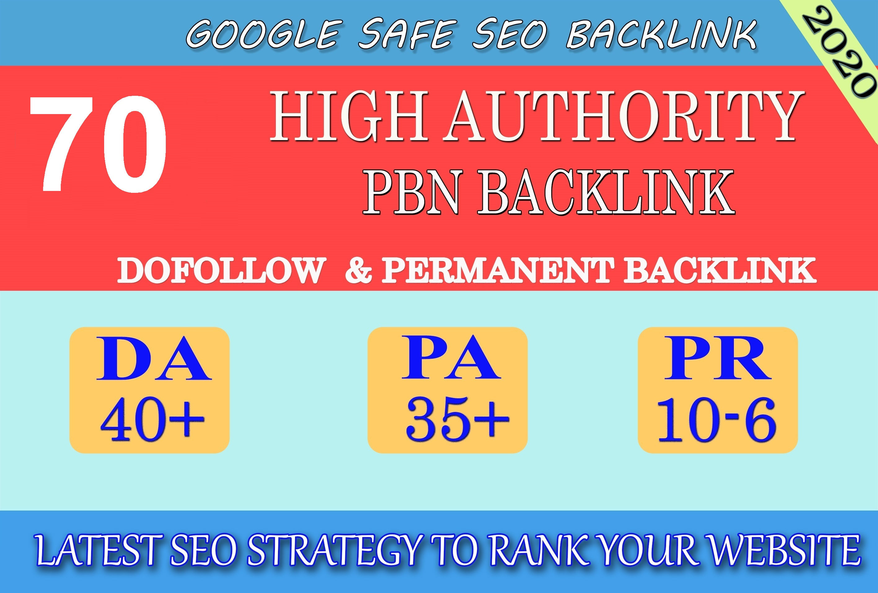 I will provide DA40+ PA30+ PR6+ 70 Web2.0 High Quality Backlink and 100 Dofollow and Permanen