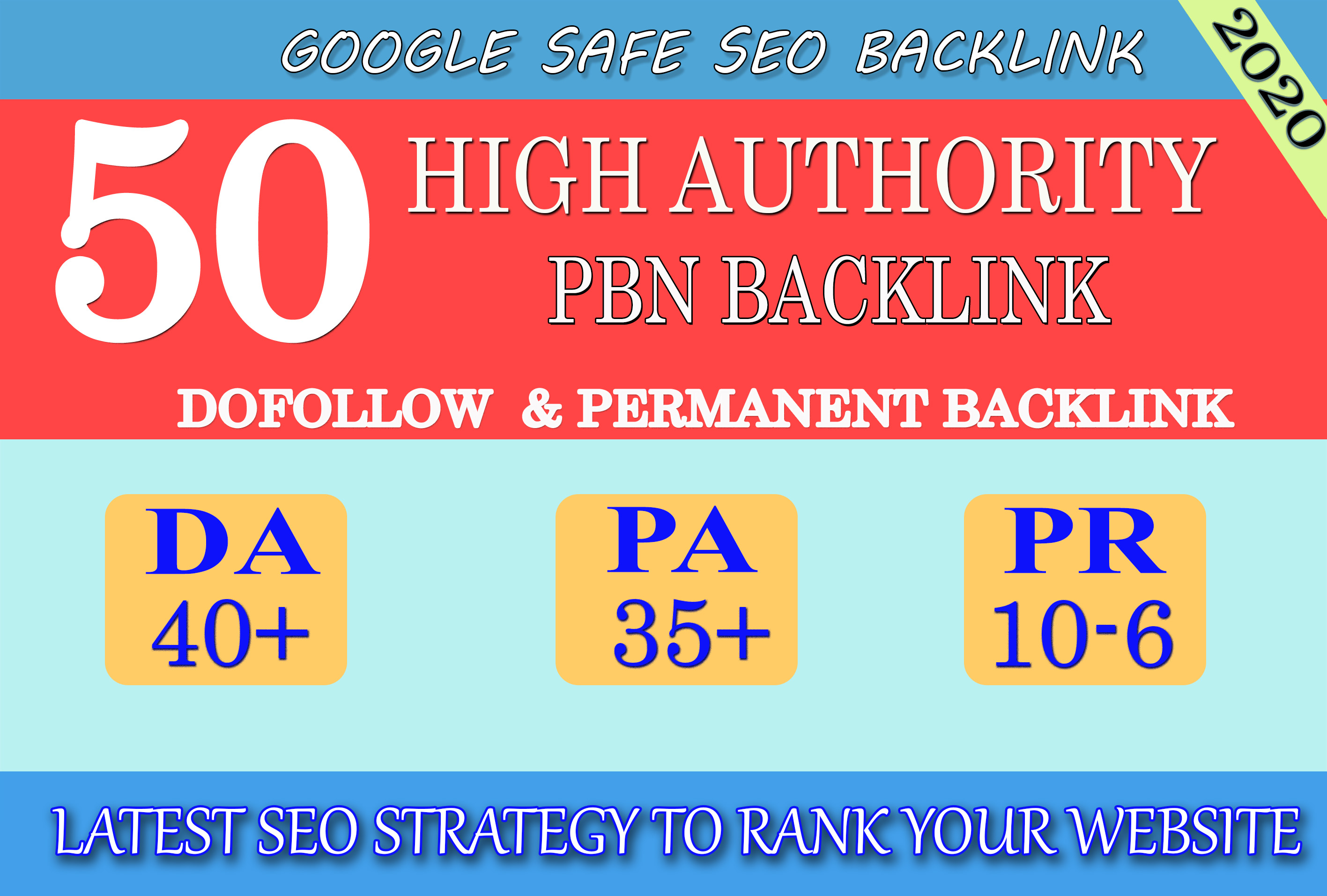 I will provide DA40+ PA30+ PR6+ 50 Web2.0 High Quality Backlink and 100 Dofollow and Permanent