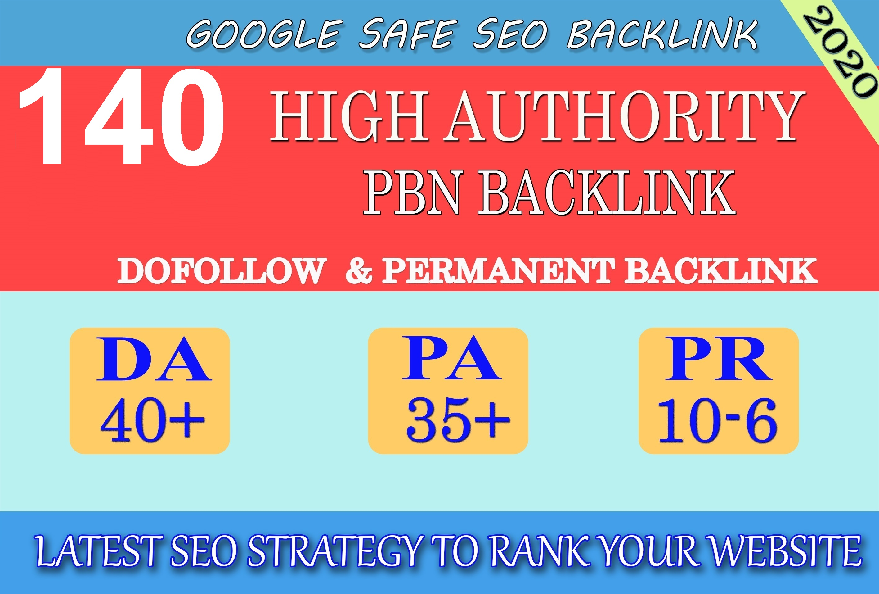 I will provide DA40+ PA30+ PR6+ 140 Web2.0 High Quality Backlink and 100% Dofollow and Permanent