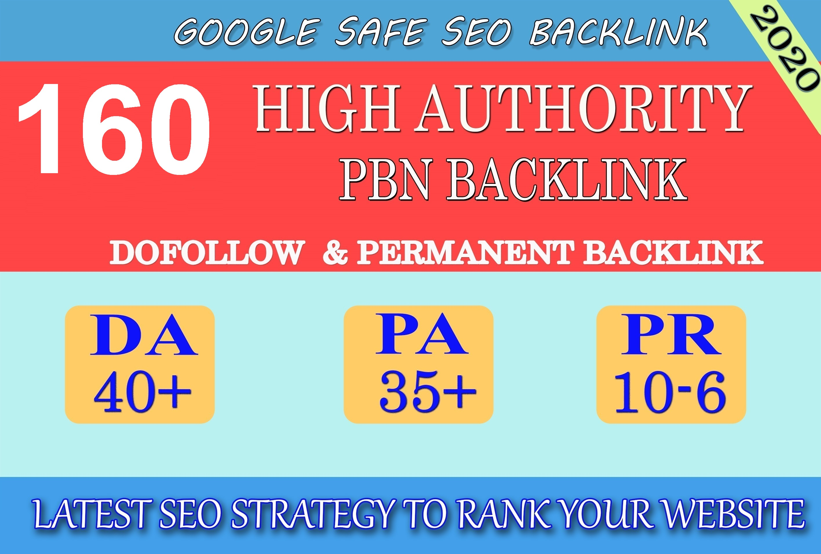 I will provide DA40+ PA30+ PR6+ 160 Web2.0 High Quality Backlink and 100 Dofollow and Permanent