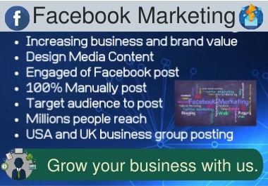 I will grow up your business by Facebook marketing,  Twitter marketing and Youtube marketing.
