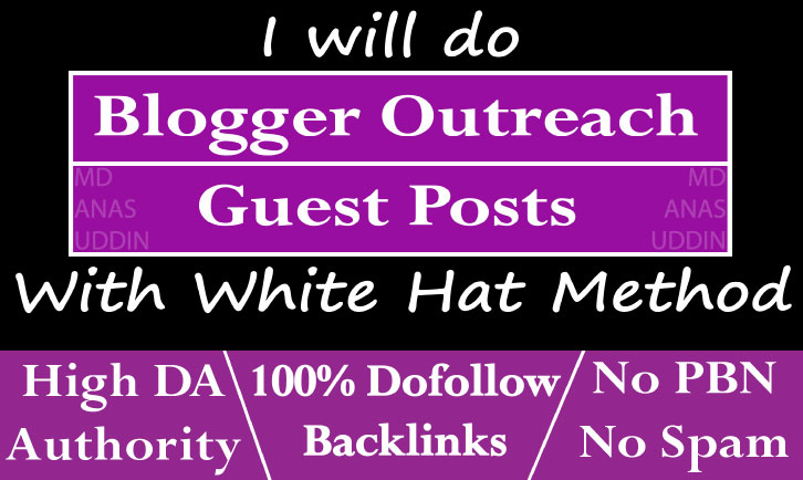 I will do guest posting backlinks through blogger outreach services