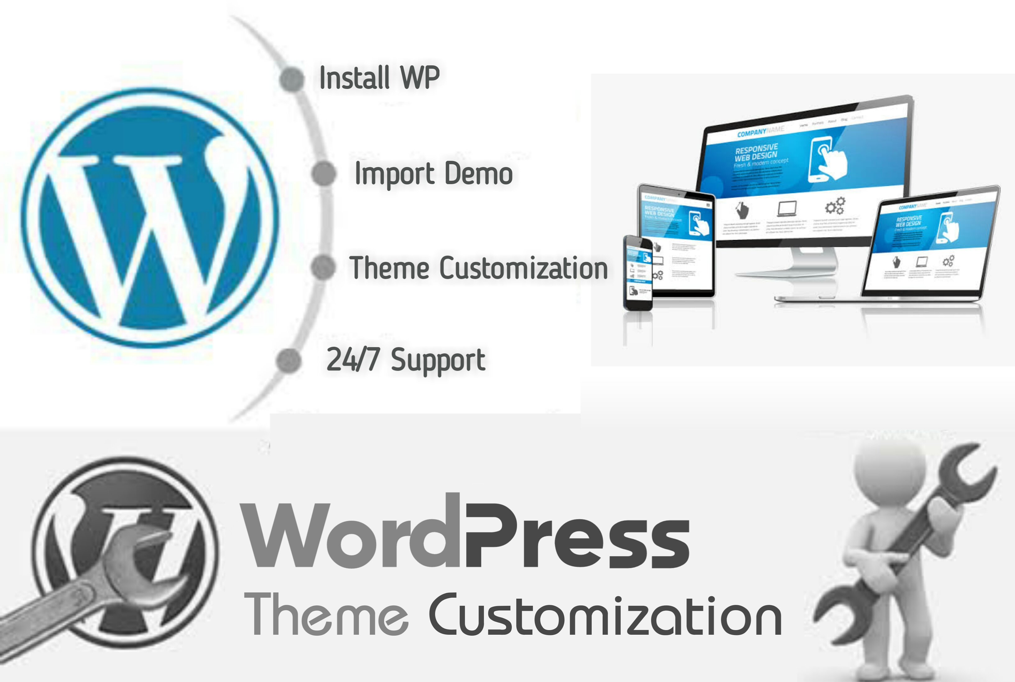 I will install wordpress, Customize theme and import demo