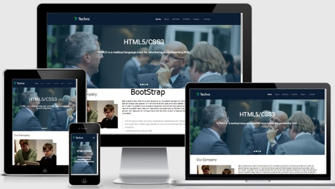 create professional website using html css and bootstrap