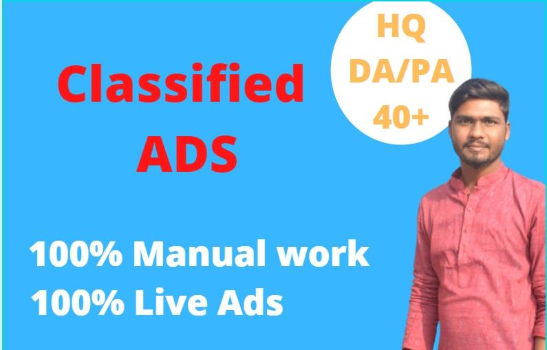 I will create classified ads with high quality DA/PA in 100 classified site