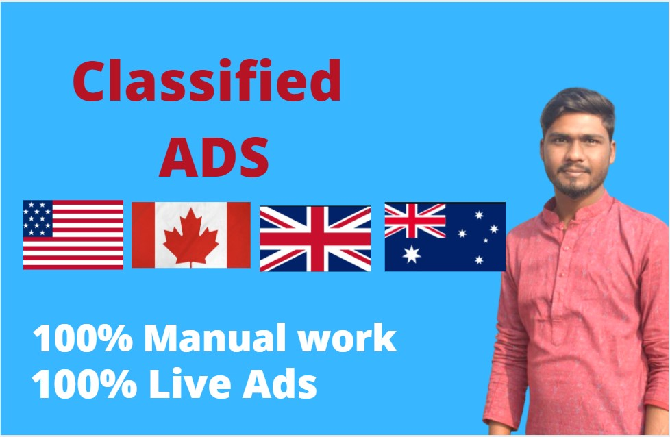 I will post ads on USA, UK, CANADA,  AUSTRALIA in Top Classified ads posting site