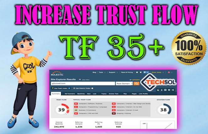 I will increase your majestic trust flow upto 20 plus,  increase tf cf