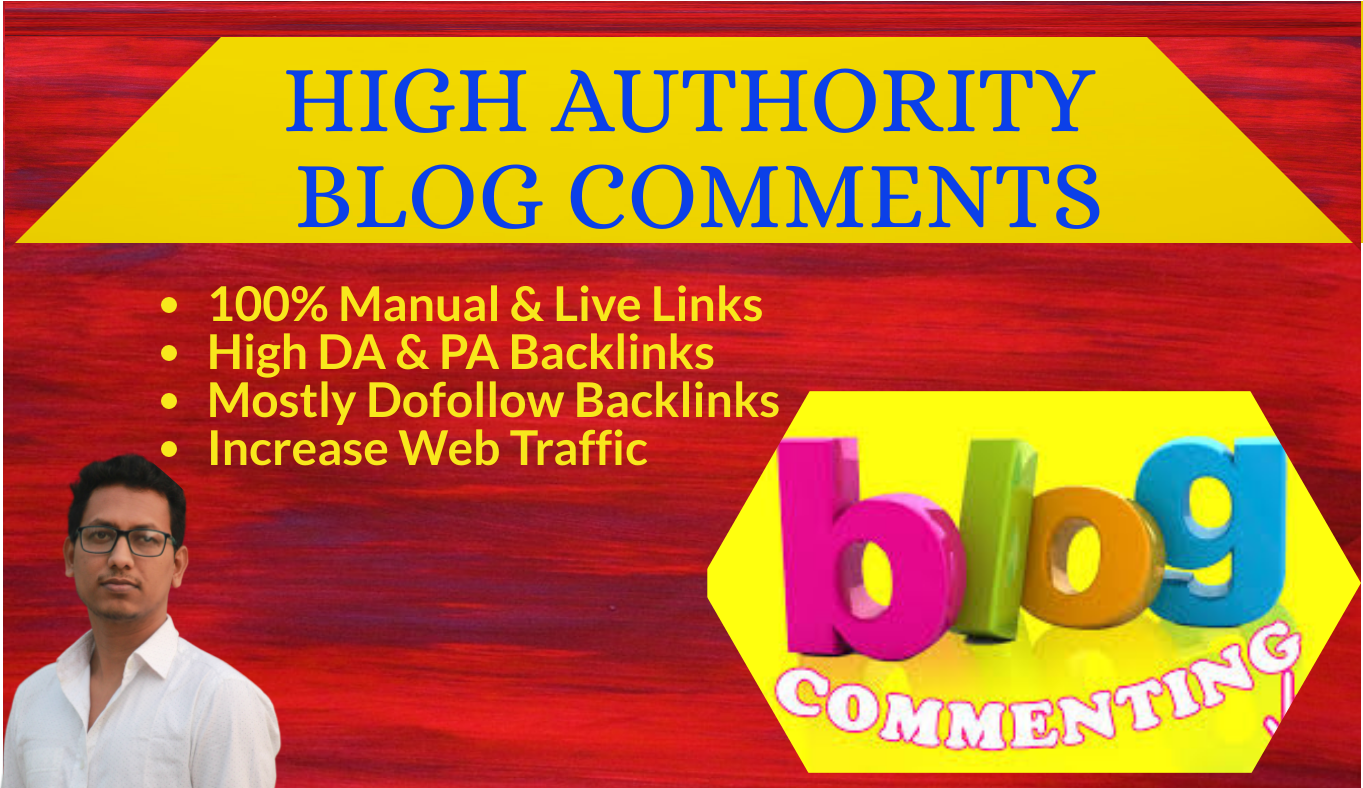 I will do manually 100 high authority blog comments backlinks