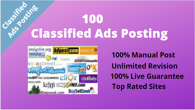 I will do 100 Classified Ads Submission with live link report any country