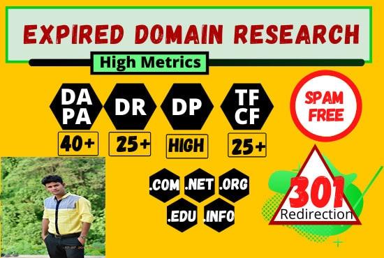 I'll find 5 Niche relevant expired domain DA 20+,  PA 20+,  90+ Backlinks. Niche Specific