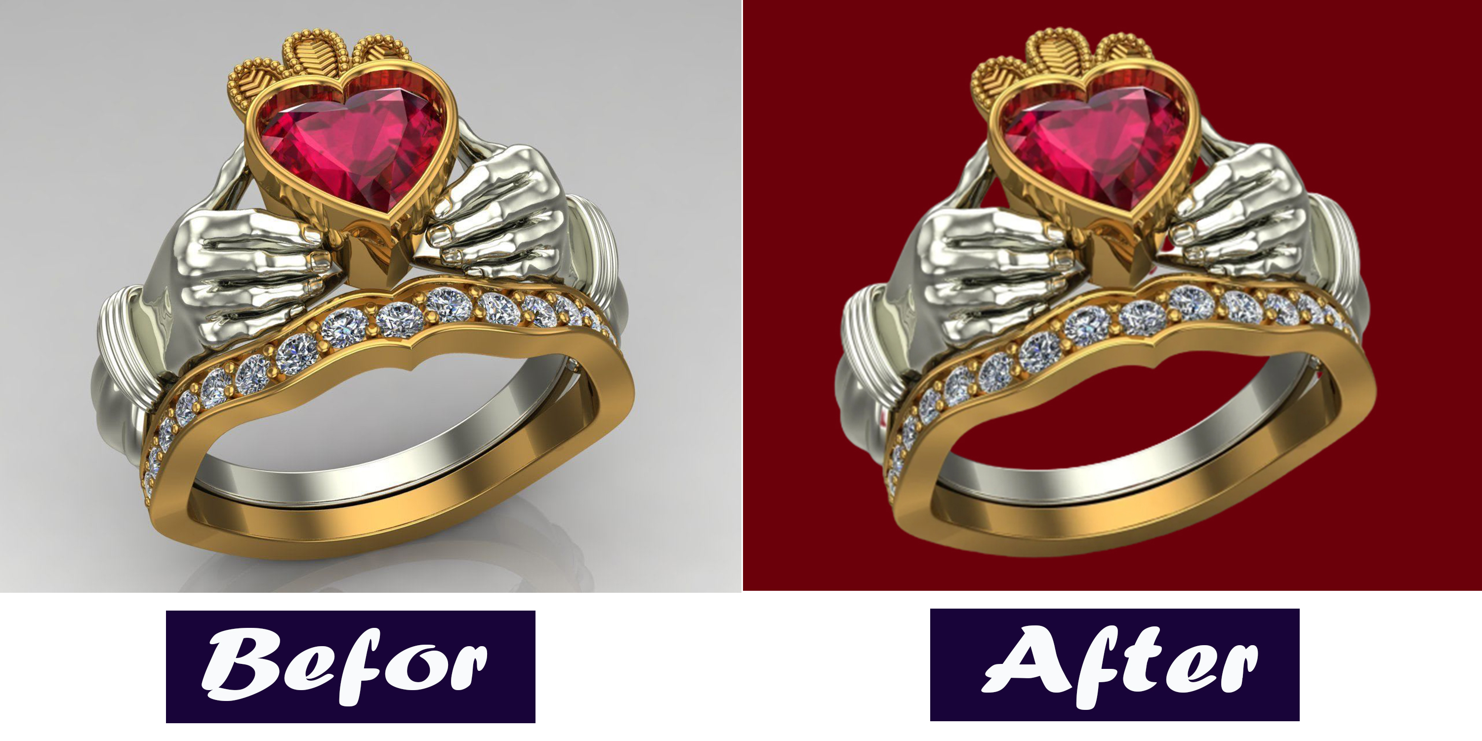I will do hard jewelry image's background remove and color background creates.